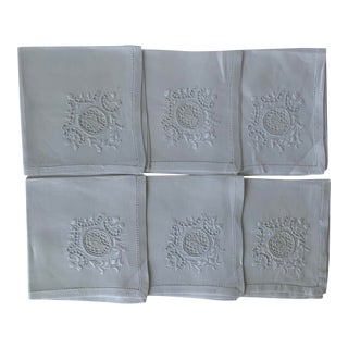 Set of 6 Roman Coin Embroidered Cocktail Napkins For Sale
