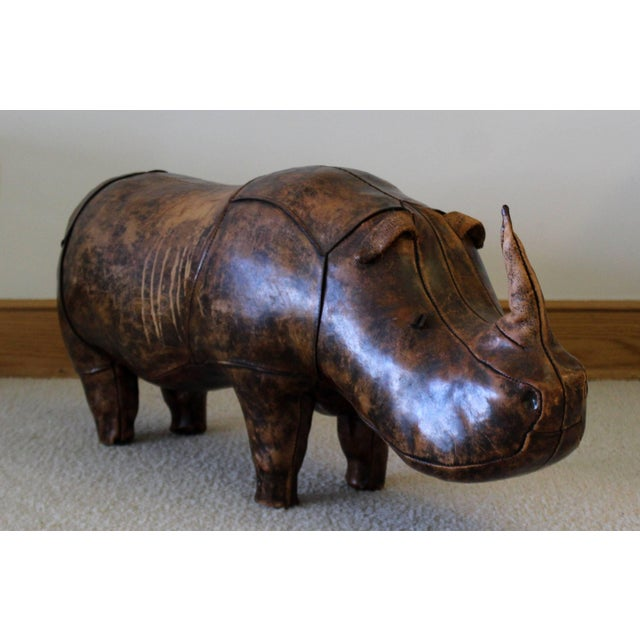 1960s 1960s Vintage Omersa for Abercrombie & Fitch Leather Rhino Footstool For Sale - Image 5 of 10