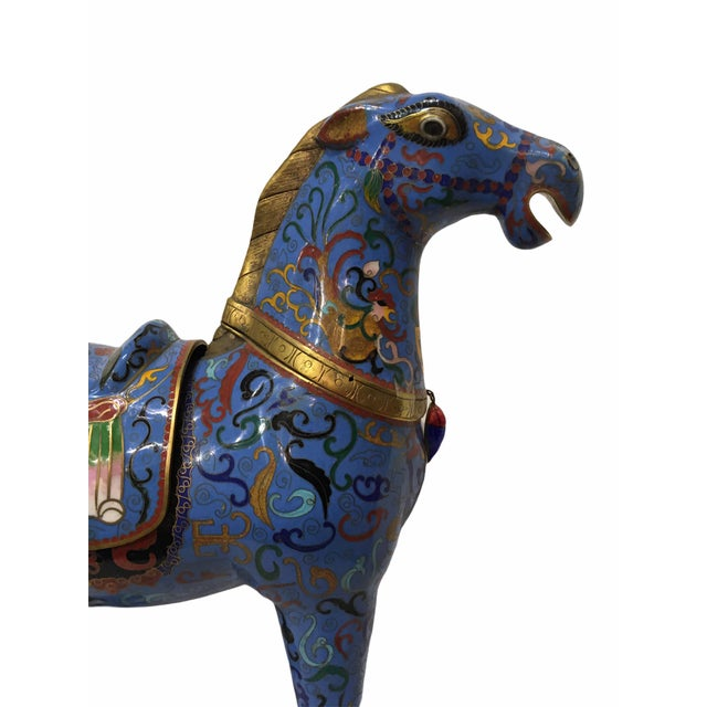 Vintage Chinese Cloisonné Horse Statue For Sale - Image 10 of 13