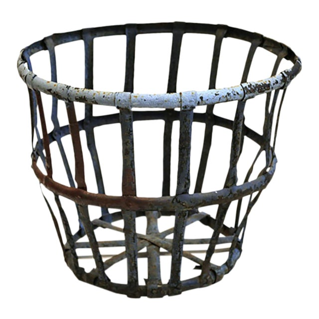Late 19th/Early 20th C. Distressed Industrial Iron Basket C. 1880-1920s For Sale