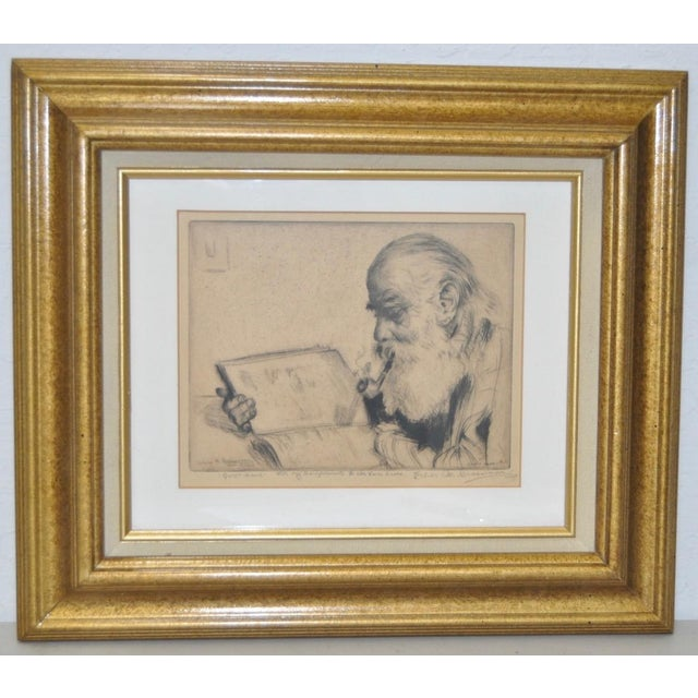 "Tan Elias Grossman ""Quite Hour"" Etching c.1934 For Sale - Image 8 of 8"