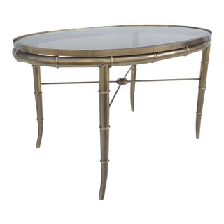 Aged Brass Faux Bamboo Occasional Tables by Mastercraft - A Pair