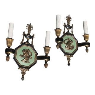 Neoclassical E.F. Caldwell Large C. 1913 Patinated Bronze Sconces - A Pair For Sale
