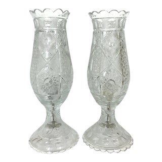"Mid-Century Cut Crystal 'Star and Moon' Glass Table Lanterns - a Pair 19.5"" For Sale"