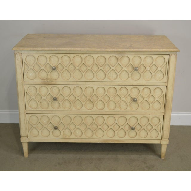 High Quality American Made Custom Painted Distressed Finish Chest with Dovetailed Drawers and Stone Marble Top
