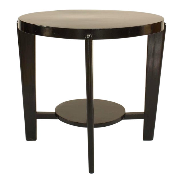 Italian 1940s Ebonized Round Coffee Table For Sale