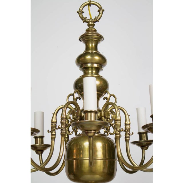 Eight Arm Dutch Style Chandelier. UL Listed. Dolphin mouth arms with tulips. Brass has a nicely patinated finish which has...