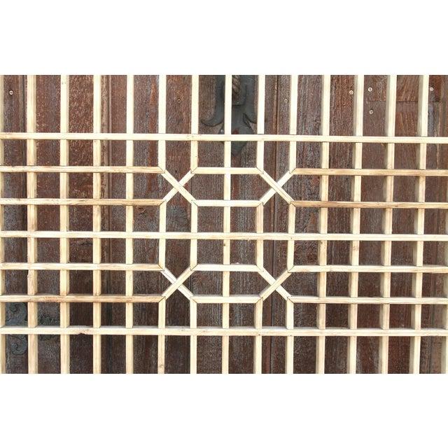 Brown Early 20th Century Geometric Lattice Window Panel For Sale - Image 8 of 10