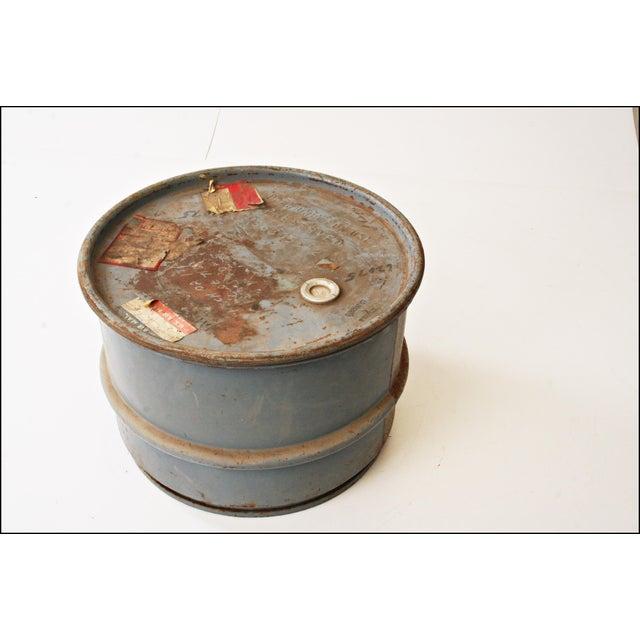 Vintage Industrial Gray Metal Barrel with Lid - Image 7 of 11