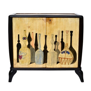 1950 Hand-Painted Burl Wood Bar Cabinet in the Style of Giorgio Morandi For Sale