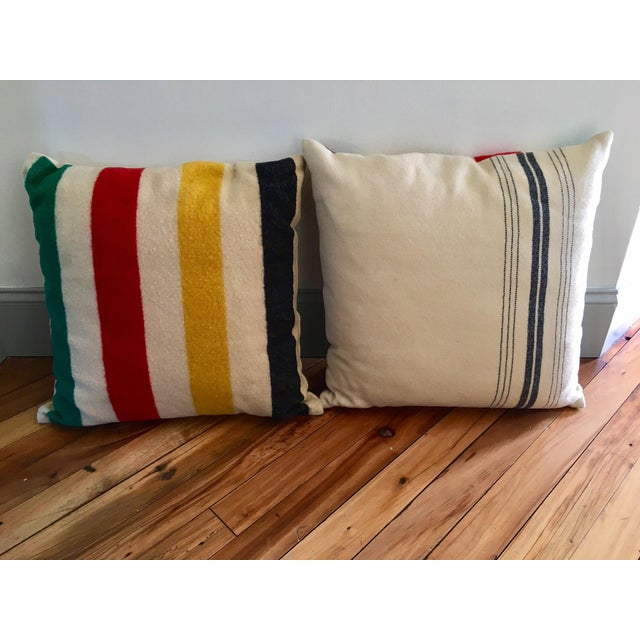 Vintage Authentic Hudson Bay Point Pillows - A Pair - Image 2 of 5