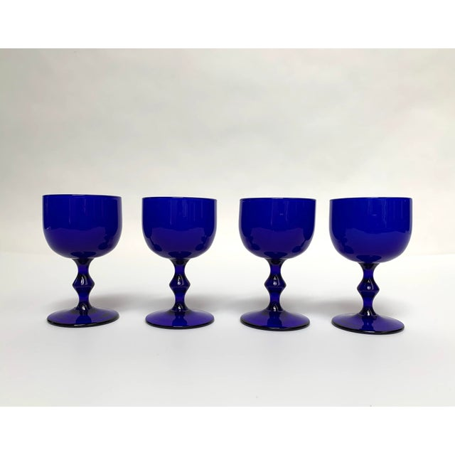 1960s Final Markdown 1960s Carlo Moretti Mid Century Modern Blue and White Cased Glass Wine Goblets - Set of 4 For Sale - Image 5 of 13