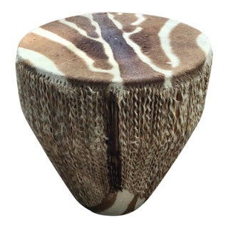 African Zebra Hide Tribal Drum Table For Sale