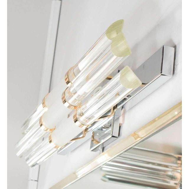 1970s Mid-Century Modernist Skyscraper Style Vanity Light with Brass Fittings For Sale - Image 5 of 7