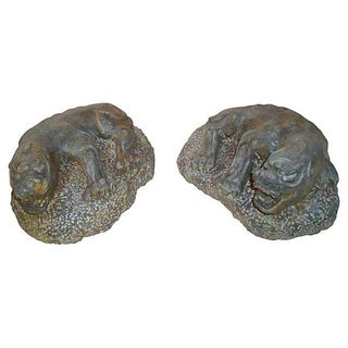 Pair of Stone Foo Dogs Carved Granite Asian Temple Dragons For Sale