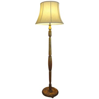 French Art Deco Jules Leleu Style Giltwood Floor Lamp, 1925