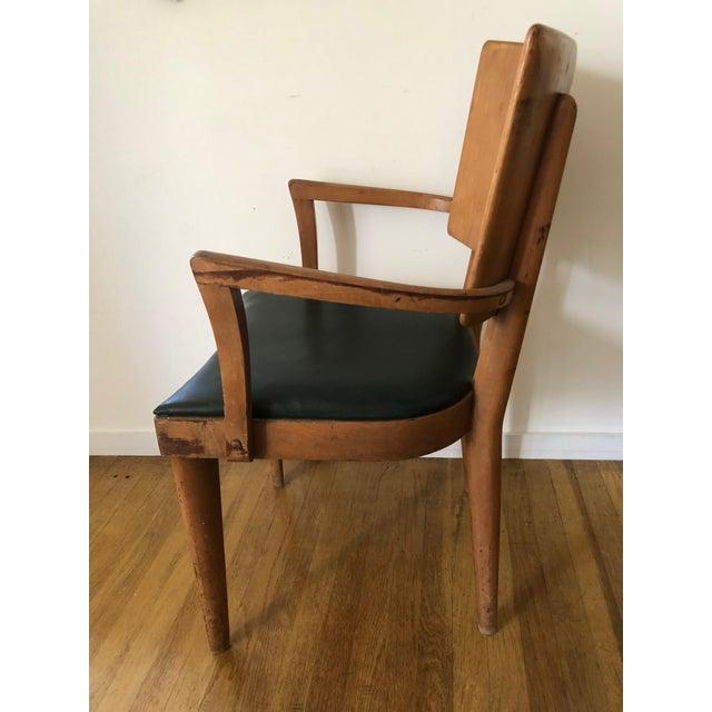 Danish Modern Heywood Wakefield Dark Green Upholstered Birch Arm Chair For Sale - Image 3 of 7