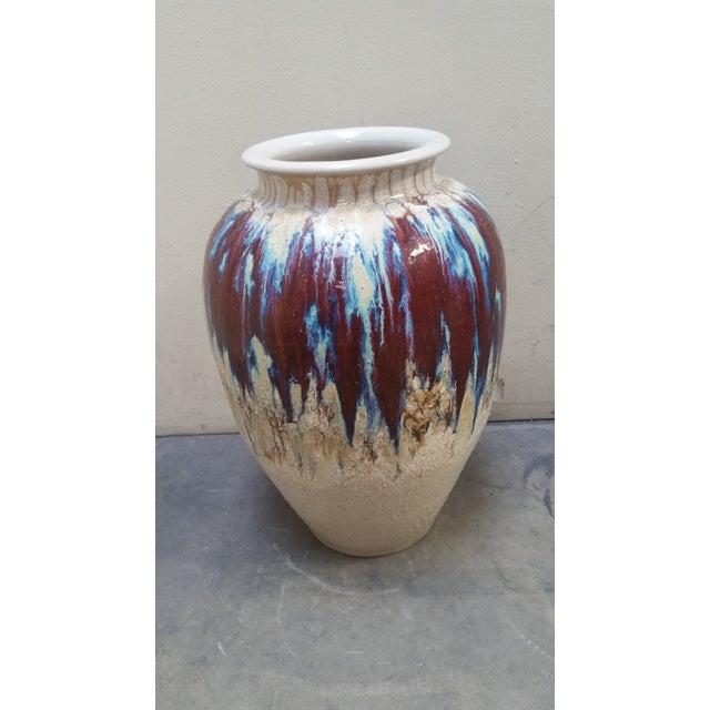 Vintage extra large floor vase, stunning drip glaze- blue/maroon over beige background