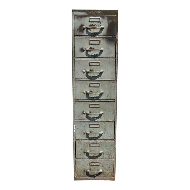 Vintage Industrial Metal File Cabinet For Sale
