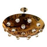 Image of 1960s Golden French Pendant Flush Light For Sale