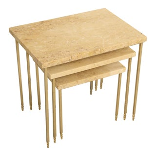 Mid-Century Modern Stone Brass Stacking Tables - Set of 3 For Sale