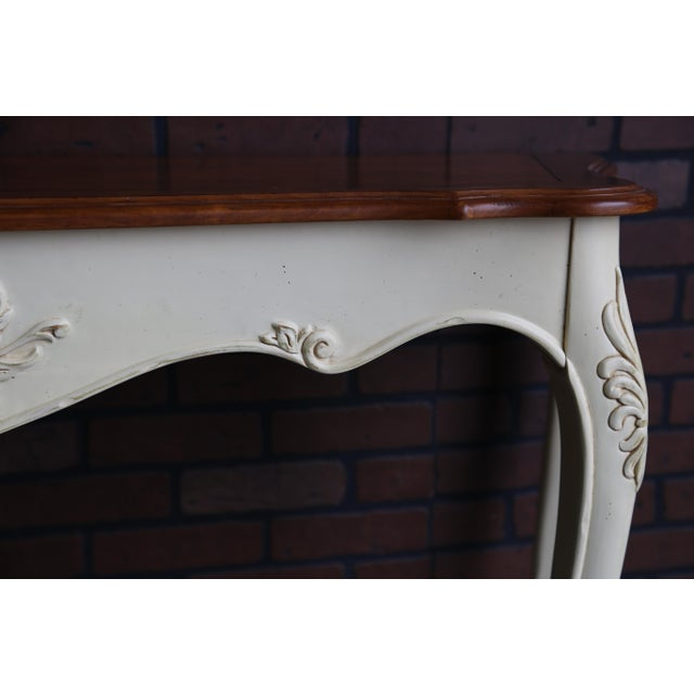2000 - 2009 French Country Ethan Allen Legacy Carved Console/Sofa Table For Sale - Image 5 of 7