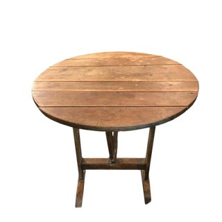 Small Pine Wine Tasting Table from France with Tilt Top