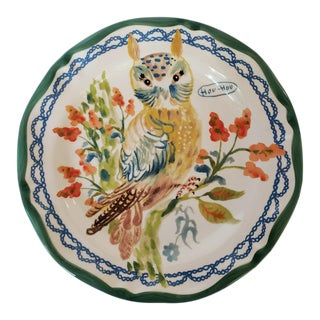 Vintage Nathalie Lete Owl Stoneware Plate French For Sale