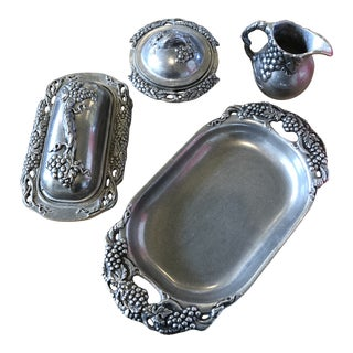 Vintage Carson Statesmetal Pewter Vineyard Elegance Grapes Serving Set - Set of 4 For Sale