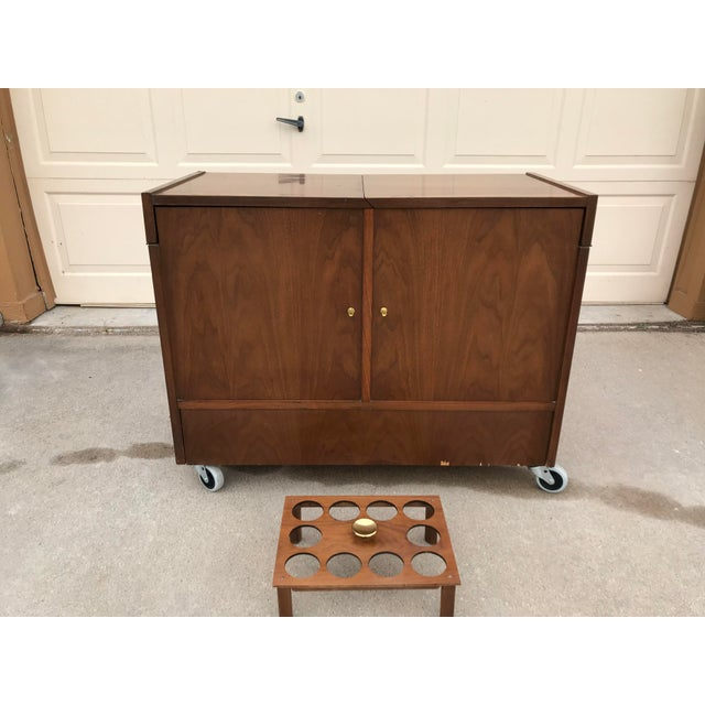 Mid-Century Dry Bar With Fold Open Top + Glasses For Sale - Image 10 of 10