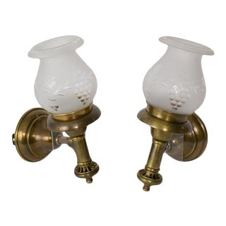 Pair Argand Sconces With Grape Cut Glass Shades For Sale