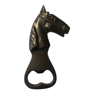 Mid 20th Century Solid Brass Horse Head Bottle Opener For Sale