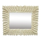 Image of Vintage White Lacquered Tropical Palm Leaf Faux Bamboo Wall Mirror For Sale