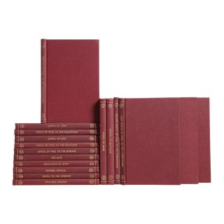 1950's Theological Reference in Burgundy - Set of Seventeen Decorative Books For Sale