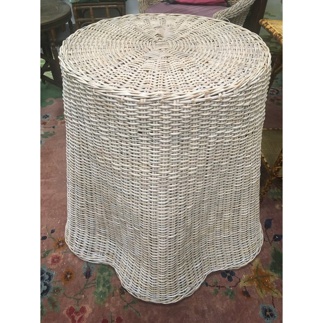 1960s Vintage Draped Wicker Center Table For Sale - Image 5 of 11