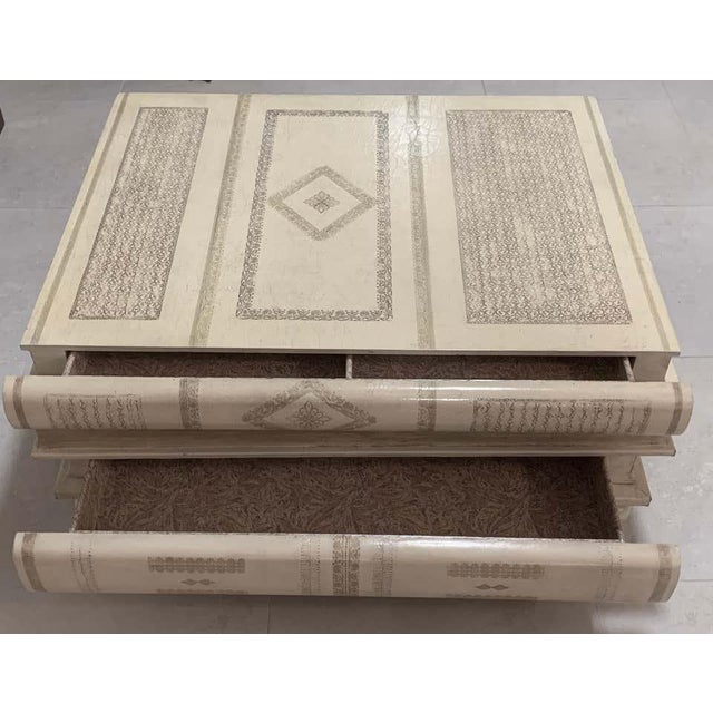 Neoclassical White-Parchment Leather Book Coffee Table by Maitland-Smith For Sale - Image 4 of 10