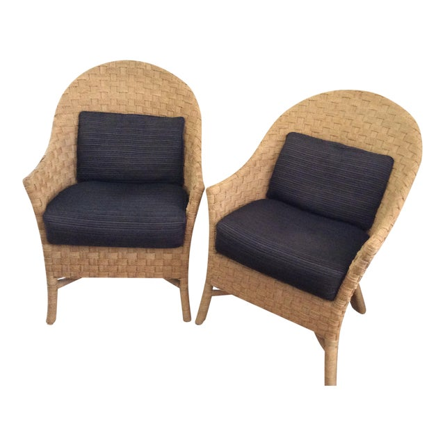 Woven Bistro Chairs With Cushions - A Pair - Image 1 of 5