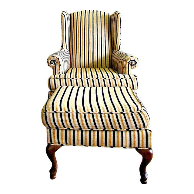 Wing-Back Striped Chair With Ottoman - Image 1 of 5