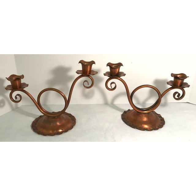 Vintage Gregorian Copper Double Candle Holders - a Pair For Sale - Image 9 of 9