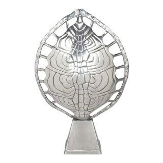 Arthur Court Polished Aluminum Tortoise Shell Lamp For Sale