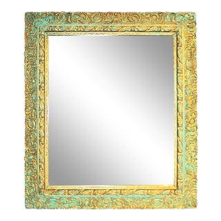 Antique Shabby Painted Wall Mirror For Sale