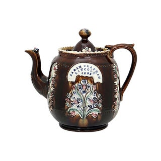 Antique English Bargeware Tea Pot - D. 1882 For Sale