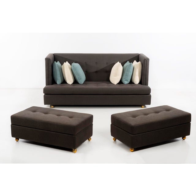 Mid-Century Modern Milo Baughman Shelter Sofa and Ottomans For Sale - Image 3 of 13