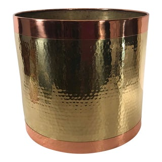 Vintage Copper and Brass Hammered Planter For Sale