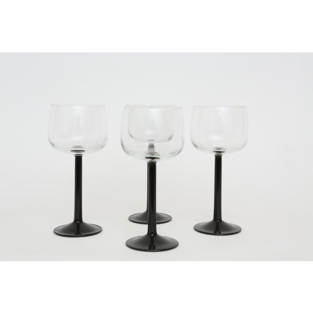 Vintage French Black Stem Glasses - Set of 4 - Image 2 of 7