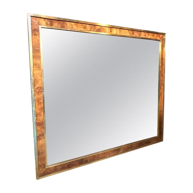 Tommaso Barbi Attributed Oversized Modern Brass Wall Mirror, Italy, 1970s For Sale
