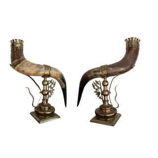 Late 19th Century Anglo Indian Cornucopia Brass Mounted Horns - a Pair For Sale