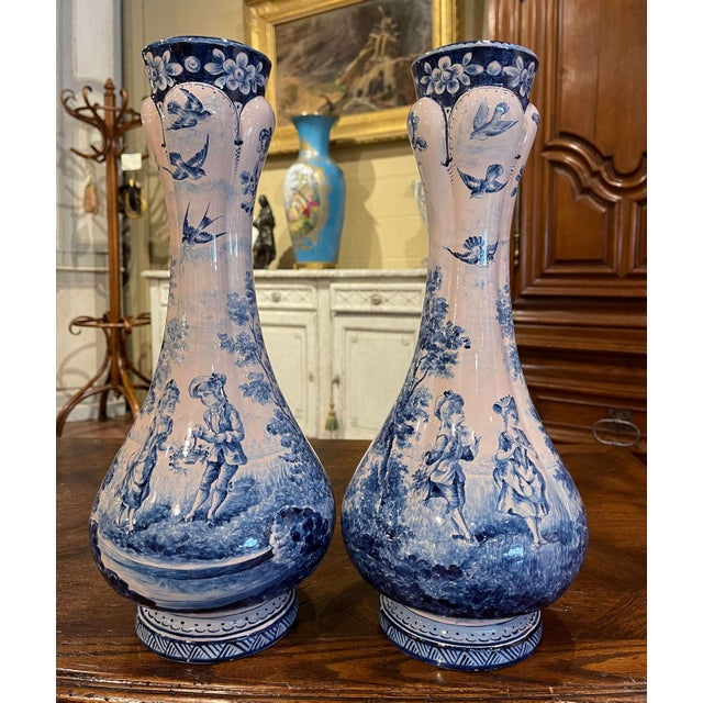 Pair of 19th Century French Delft Style Faience Vases With Blue and White Decor For Sale - Image 13 of 13