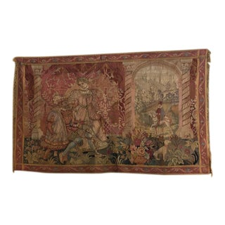 Antique Mounted European Tapestry For Sale