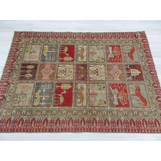 Vintage Decorative Turkish Rug - 4′ × 5′8″ - Image 4 of 6